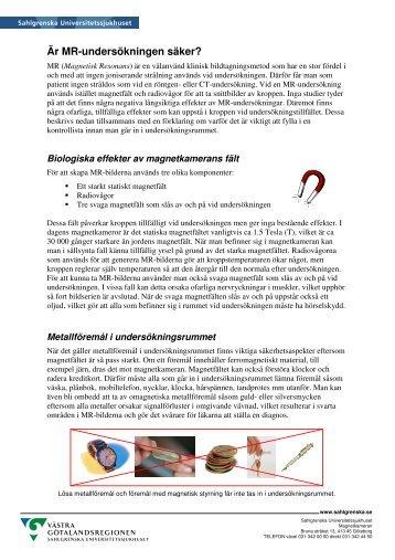 Är MR-undersökning säkert? - Sahlgrenska Universitetssjukhuset