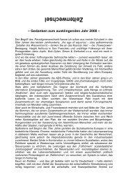 – Gedanken zum ausklingenden Jahr 2008 – - GO-AHEAD
