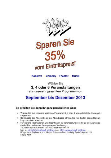 abodaten September bis dezember 13 - Bürgerhaus Stollwerck