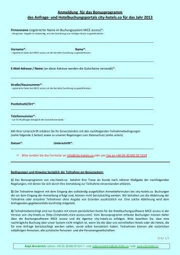 Anmeldung für das Bonusprogramm des Anfrage ... - city-hotels.co