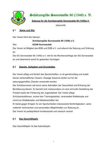 Satzung der Schützengilde Sonnewalde 90