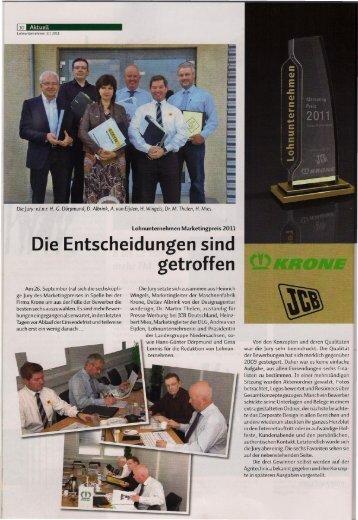 Lohnunternehmen Marketingpreis 2011 - wyss-lu