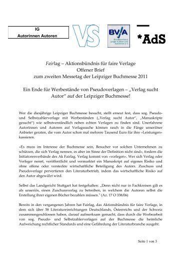 Pressemitteilung vom 18. März 2011 - Aktionsbündnis für faire Verlage