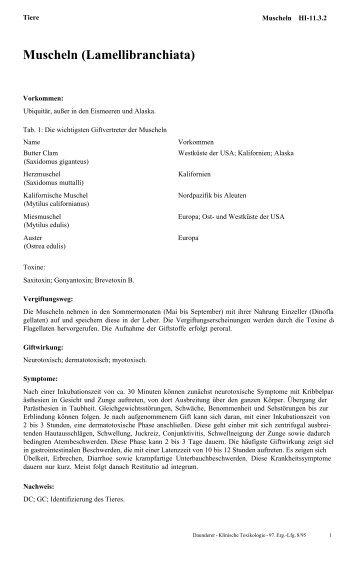Muscheln (Lamellibranchiata)