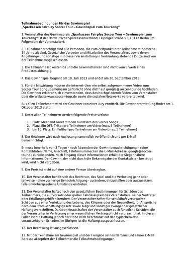 Teilnahmebedingungen - Sparkasse