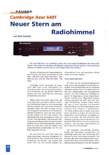 Cambridge Audio Azur 640T ReinHören 01/2005 - taurus high-end ...