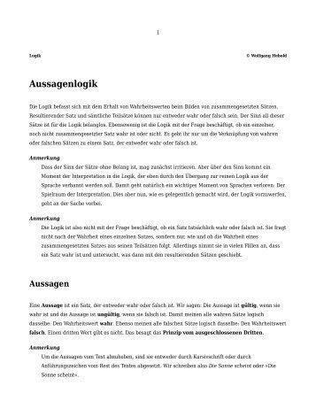 Aussagenlogik - Fachbereich 4: HTW Berlin