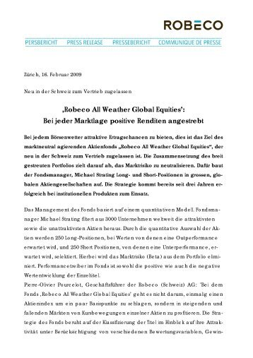 'Robeco All Weather Global Equities': Bei jeder Marktlage positive ...