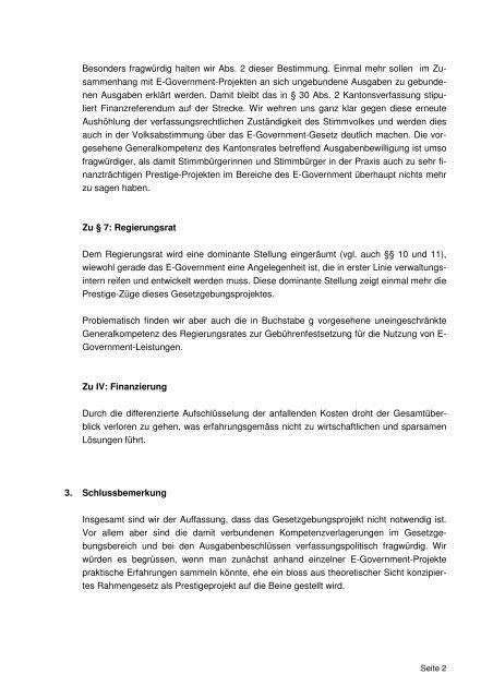 14.10.2008 Vernehmlassung E-Government - HEV Kanton Schwyz