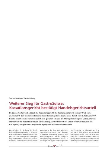 Weiterer Sieg für GastroSuisse: Kassationsgericht ... - GastroBern