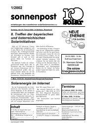 Sonnenpost 2002 - 1 - Rosenheimer Solarförderverein e.V.