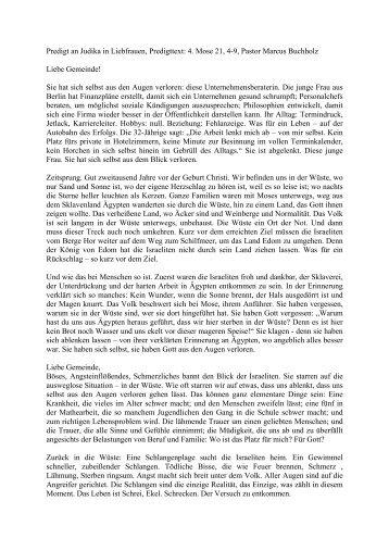 Predigt an Judika in Liebfrauen, Predigttext: 4. Mose 21, 4-9, Pastor ...