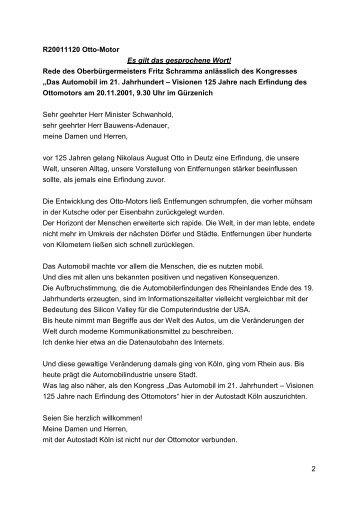 Das Automobil im 21. Jahrhundert-, 20. November 2001 ... - Stadt Köln