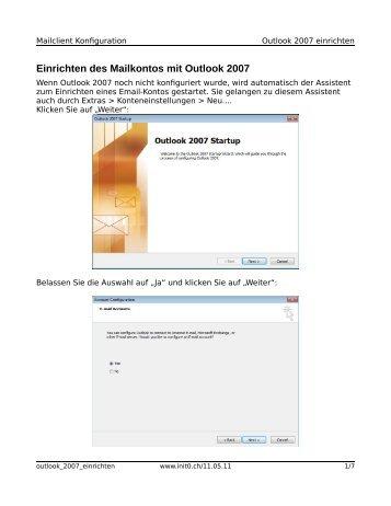 Mailkonto mit Outlook 2007 einrichten - init0.ch