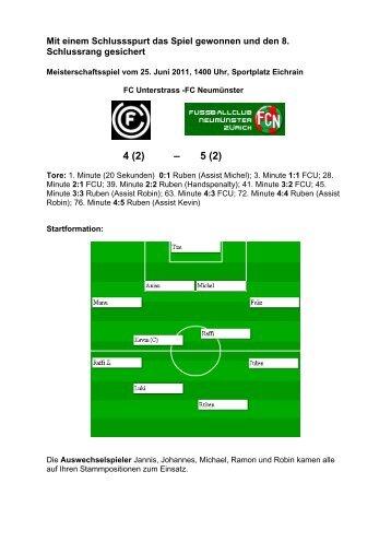 Spielbericht - FC Neumünster Zürich