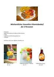 Wöchentlicher Smoothie-Vitaminbedarf für 2 Personen - FLP-News