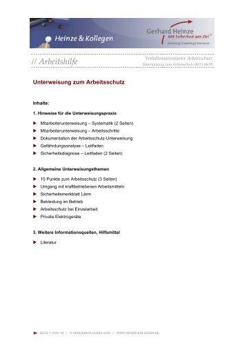 Unterweisung zum Arbeitsschutz - Heinze & Kollegen