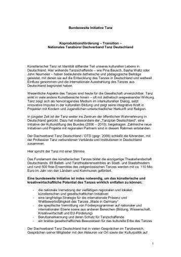 Bund-Länder-Initiative Tanz - Dachverband Tanz Deutschland