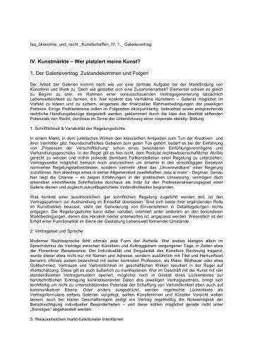 Der Galerievertrag. Zustandekommen und Folgen.