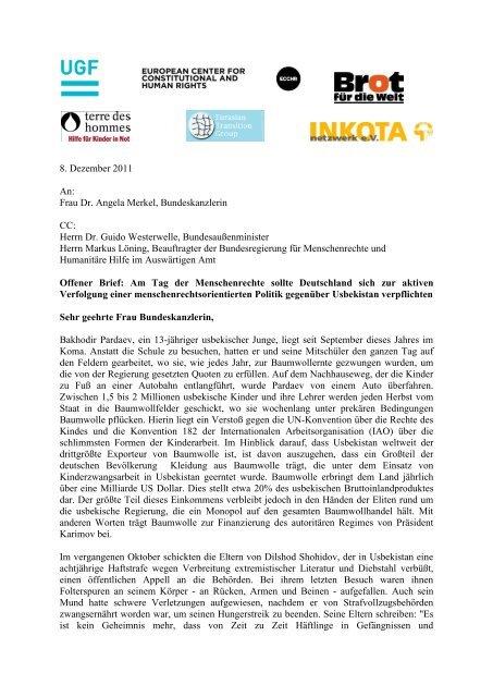 Offener Brief An Die Bundesregierung Zur Aktiven Verfolgung Einer