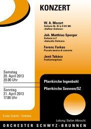 Programm 2013 - Orchester Schwyz Brunnen