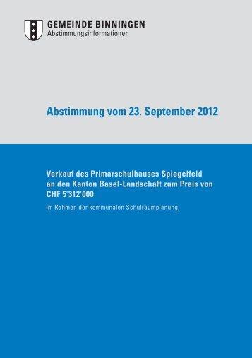 Verkauf des Primarschulhauses Spiegelfeld - Binningen