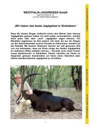 Wir haben das beste Jagdgebiet in Simbabwe! - Westfalia Jagdreisen