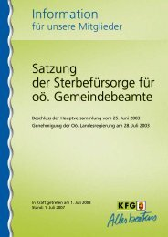 Information Satzung der Sterbefürsorge für oö ... - KFG OÖ