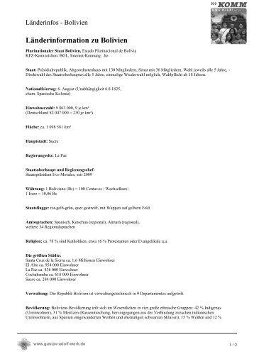 Länderinformation zu Bolivien - Gustav-Adolf-Werk