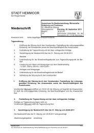 STADT HEMMOOR Niederschrift