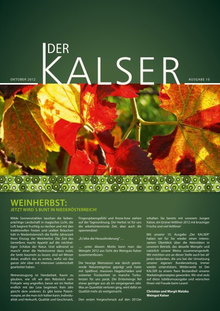Weinherbst: - im Weingut KALSER