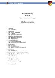 Finanzordnung (FinO) Inhaltsverzeichnis - Verband der Reservisten ...