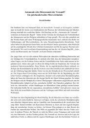 Autonomie oder Heteronomie der Vernunft? Ein jahrhundertealtes ...