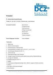 Protokoll 9. Generalversammlung - Bobclub Zentralschweiz