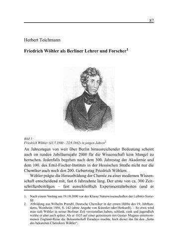 Herbert Teichmann Friedrich Wöhler als Berliner Lehrer und Forscher