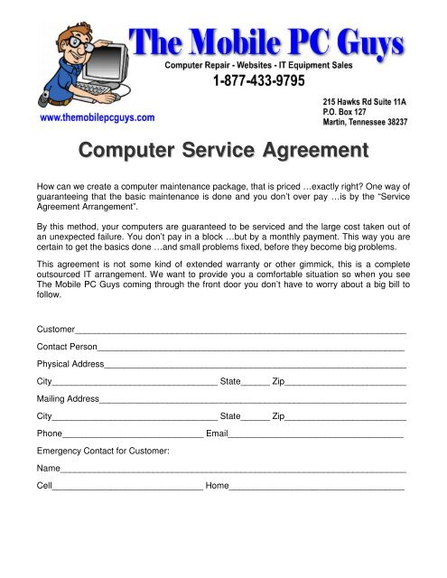 Computer Service Agreement - The Mobile PC Guys on home service warranty, home service person, home service company, home service project, home service change, home bill of sale, home repair, home training, home service connection,