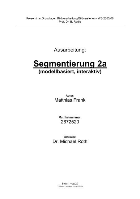 Ausarbeitung (PDF) - Matfrank.de
