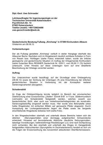 """Geotechnische Beratung Fußweg """"Kirchweg"""" in 57399 ... - Albaum"""