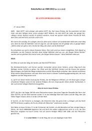 Botschaften an JNSR 2010 - Gottes Warnung