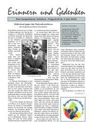 Widerstand gegen den Nationalsozialismus - Erinnern und Gedenken
