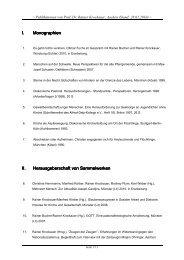 I. Monographien Monographien II. Herausgeberschaft von ...