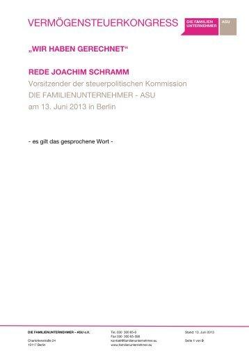 Rede von Joachim Schramm - Familienunternehmen
