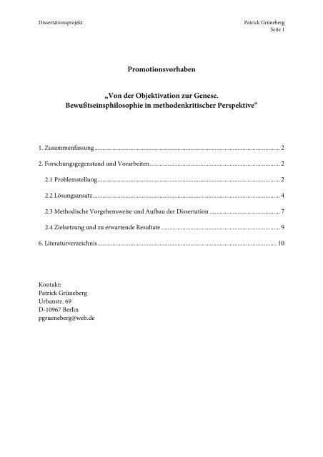 Dissertation expose