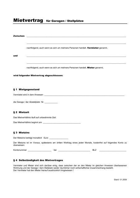 Mietvertrag Für Garagen Stellplätze Eigenheimer Verein Happing