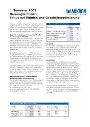 1. Semester 2003: Bereinigte Bilanz, Fokus auf Kunden und - Mikron