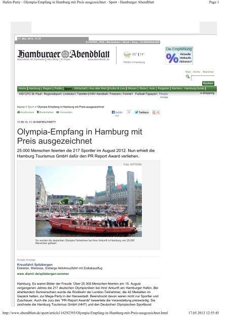 Hafen-Party - Olympia-Empfang in Hamburg mit Preis ausgezeichnet