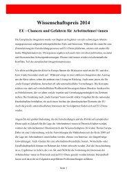 Wissenschaftspreis 2014 - Arbeiterkammer