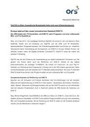 Europa setzt auf den neuen terrestrischen Standard DVB-T2 - ORS