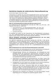 Rechtlichen Aspekte der elektronischen Datenaufbewahrung