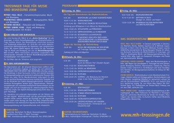trossinger tage für musik und bewegung 2008 - Rhythmik-Netzwerk